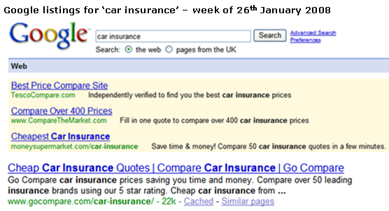 Google search results for car insurance go compare screenshot.png